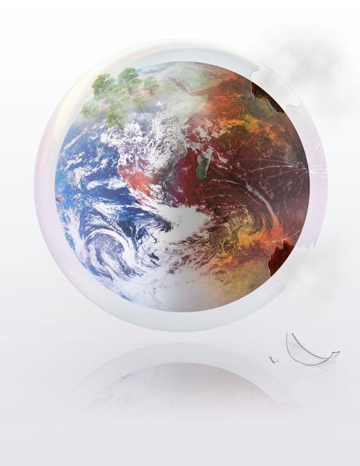 Peace and growth on one side and destruction and pollution on the other of the earth globe