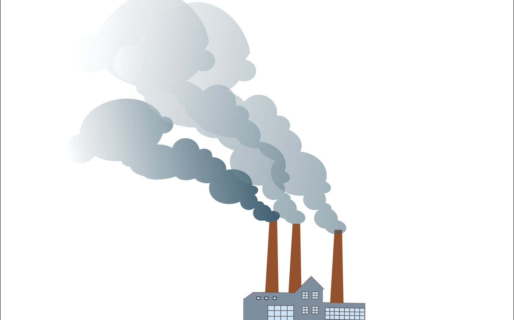 Smoking dirty polluting plant or factory on a neutral background
