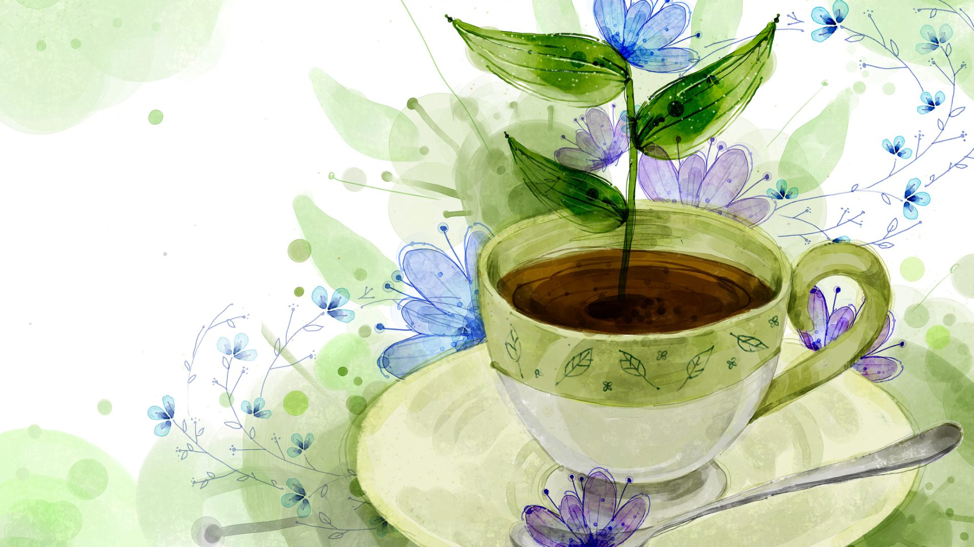 Coffee Cup And Spoon On Flora Background