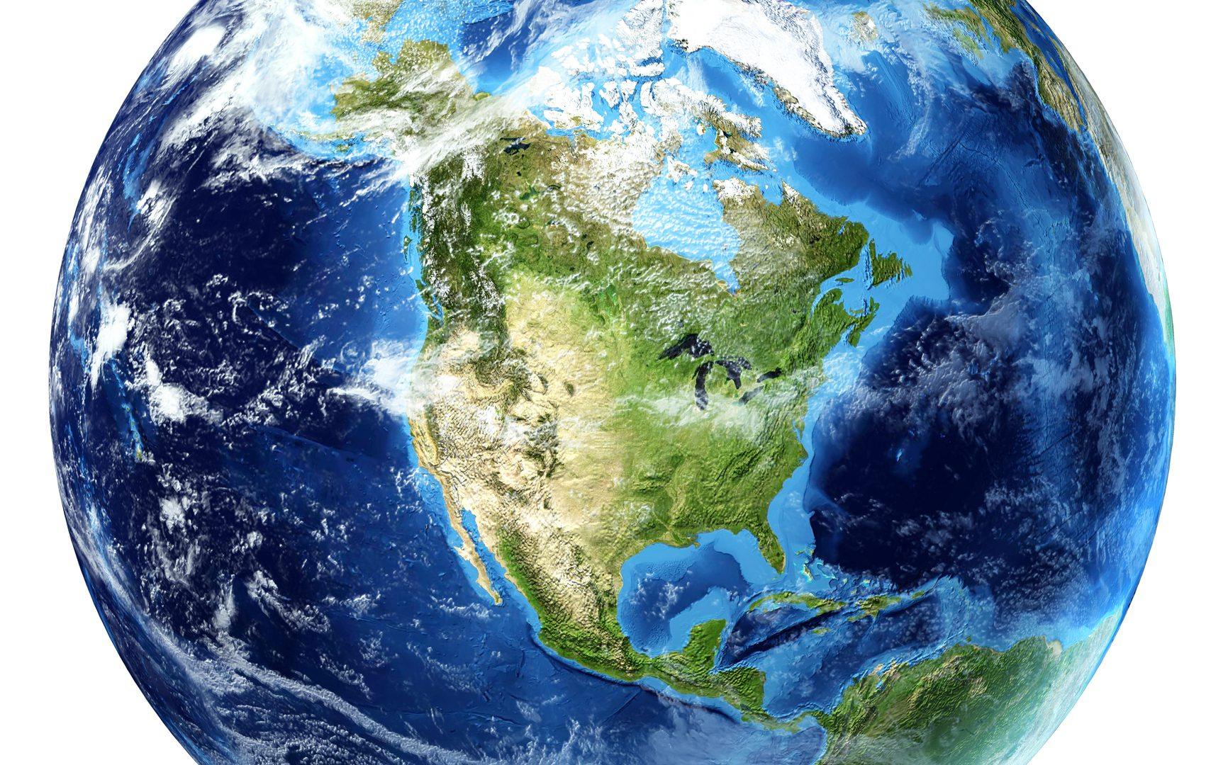 Planet earth with some clouds. North America view.