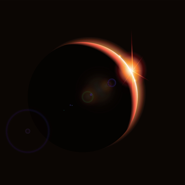 Eclipse,the backlight of the planet, science illustration.