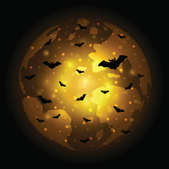 Halloween festival and celebration abstract background, flying bat with world globe earth and copy space, vector illustration.