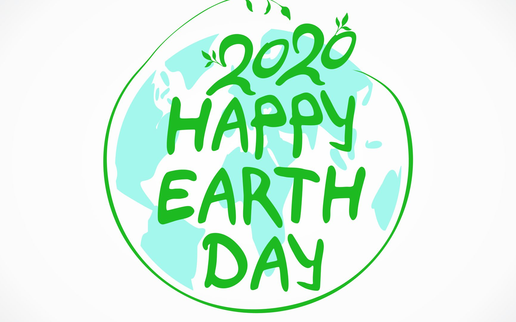 Happy Earth Day 2020. Green logo. Vector hand drawn template.