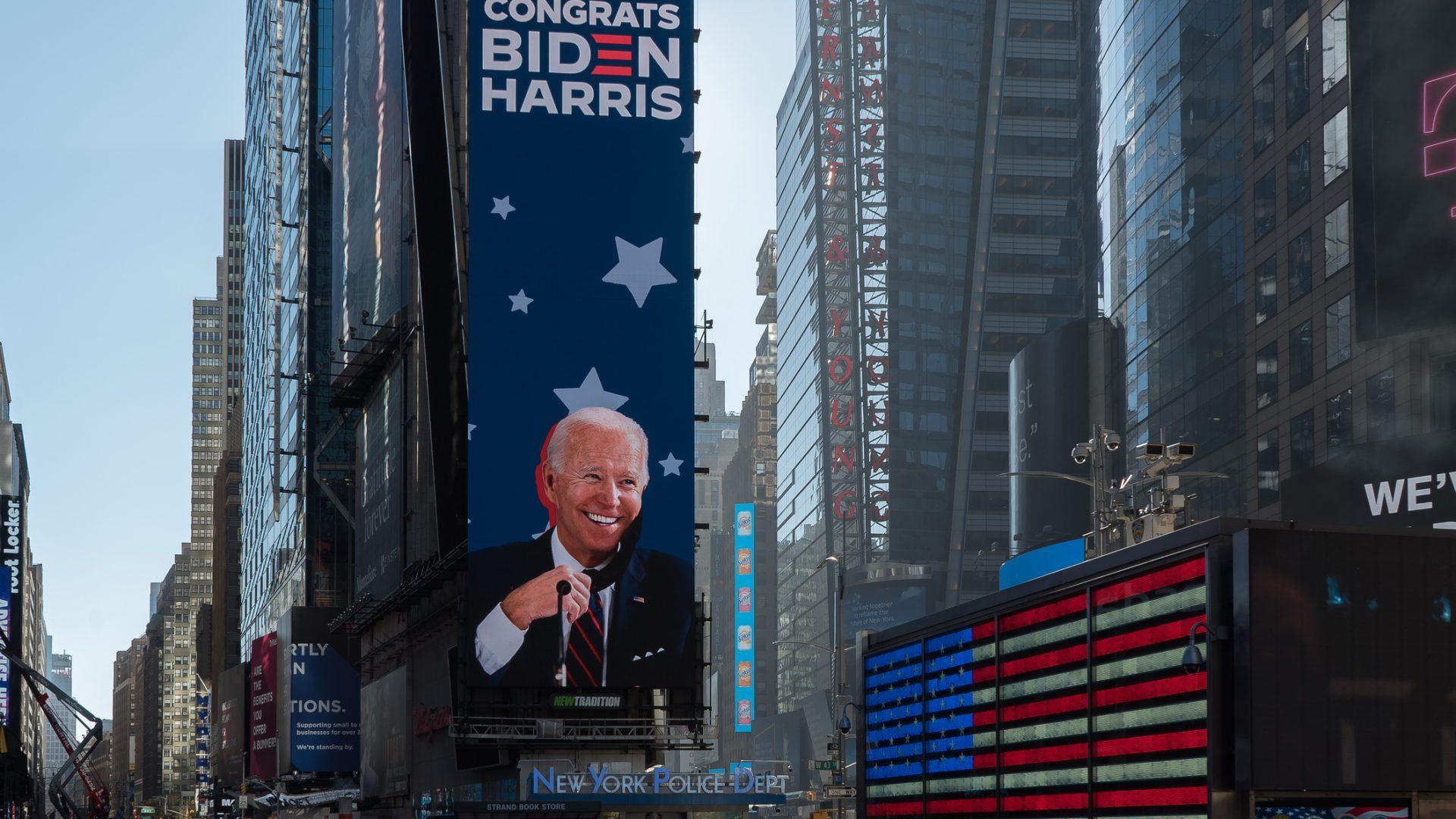 Manhattan, New York. November 09, 2020. Times Square tribute to president elect Joe Biden.